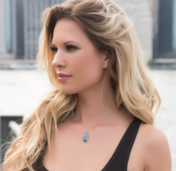 "Leafael ""Ocean Treasure"" Made with Swarovski Crystals Starfish Teardrop Ocean Blue & Opal White Color Pendant Necklace December March Birthstone, Silver-tone, 17.5"", Nickel/Lead Free, Presented by Miss New York, Luxury Gift Box"