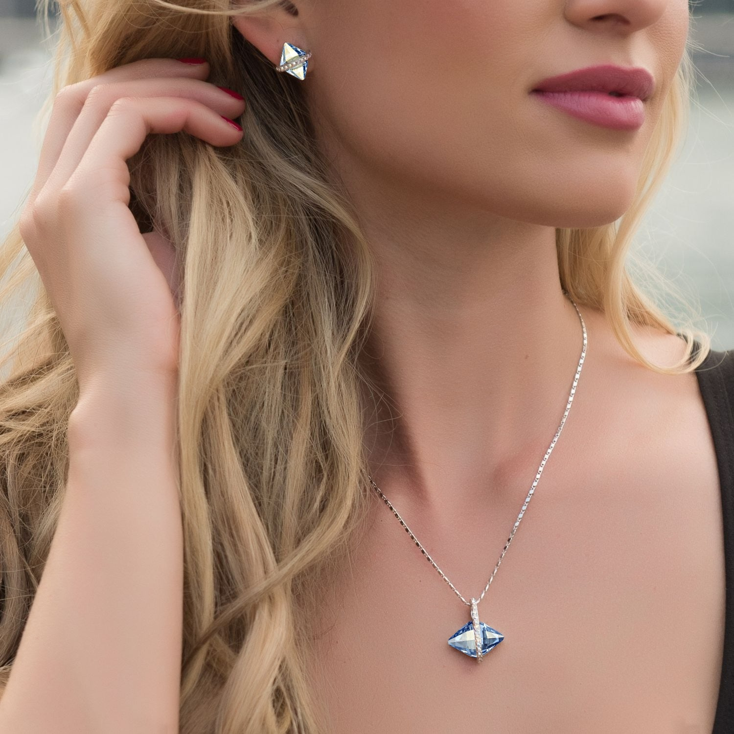 Rhombus Crystal Jewelry Set