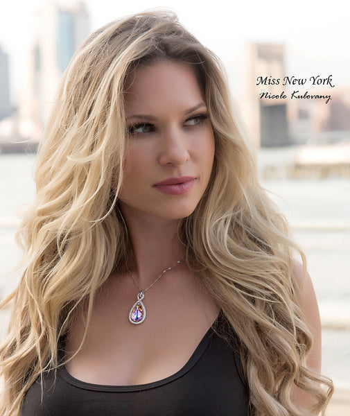 "Leafael ""Infinity Love"" Made with Swarovski Crystals Teardrop Purple Pendant Necklace, February Birthstone, 17""+2"", Silver Plated Chain, Presented by Miss New York, Lead/Nickel/Allergy Free, Luxury Gift Box"