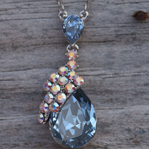 Open image in slideshow, Double Teardrop Crystal Pendant Necklace