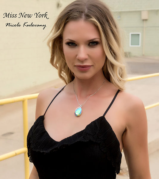 "Leafael ""Lake in The Summer"" Pendant Necklace Made with Swarovski Crystals Pear Shape Teardrop Purple Green Rainbow Jewelry, Silver Plated Chain, 17.5"", Presented by Miss New York, Luxury Gift Box"