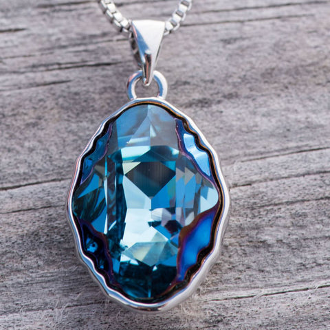 "Leafael ""Meteorolite"" Made with Swarovski Crystals Sapphire Blue Silver-tone Pendant Necklace, 18"", Nickel/Lead Allergy Free, Luxury Gift Box"
