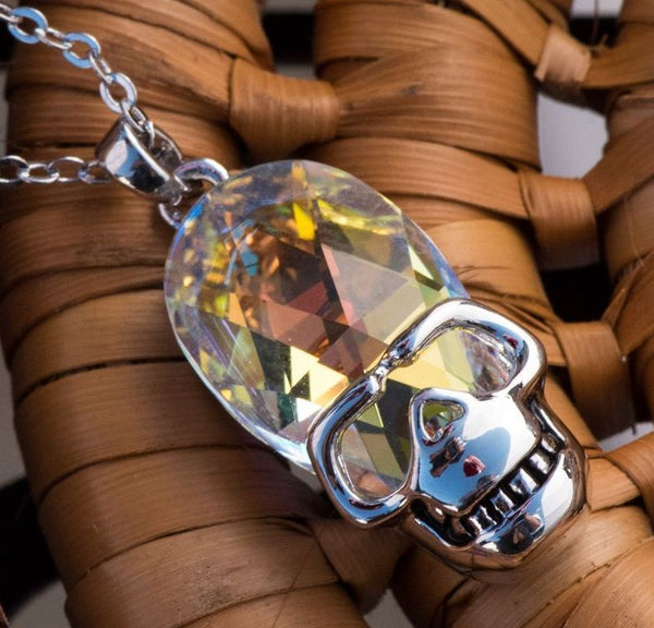 "Leafael Rock Theme Crystal AB Opal White Skull Silver-tone Pendant Necklace Made with Swarovski Crystals April Birthstone Jewelry, 17.5"", Halloween, Presented by Miss New York,  Nickel/Lead/Allergy Free, Luxury Gift Box"