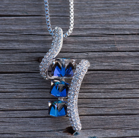 "Leafael ""Ocean Cubes"" Made with Swarovski Crystals Sapphire Blue Pendant Necklace, Silver-tone, 17""+2"", Nickel/Lead Free, Luxury Gift Box"