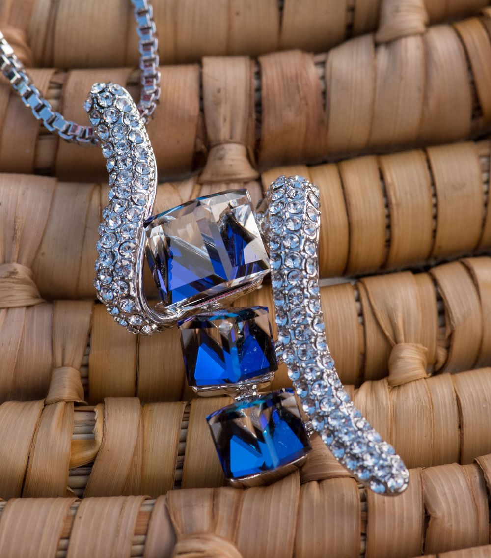 """Ocean Cubes"" Pendant Necklace with Sapphire Blue Crystals"