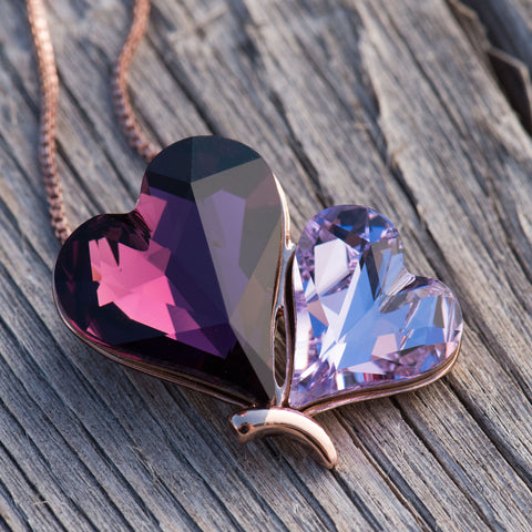 "Leafael Double Heart Butterfly Pink & Purple Pendant Necklace Made with Swarovski Crystals, 18K Rose Gold Plated, 18"" + 2"", Luxury Gift Box"