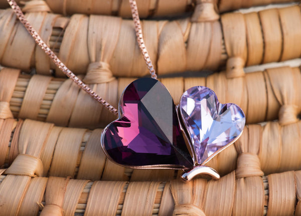 "Leafael Double Heart Butterfly Rose Pink & Tanzanite Purple Love Pendant Necklace Made with Swarovski Crystals February June Birthstone Jewelry, 18K Rose Gold Plated, 18"" + 2"", Presented by Miss New York, Luxury Gift Box"