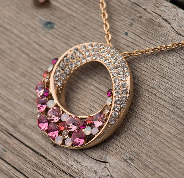 "Twin Moons Rose Gold Plated Multi-Stone Pink & Red Swarovski Elements Crystal Twisted Circle Pendant Necklace,  October Birthstone Jewelry, 18"" + 2"" Extender, Presented by Miss New York, Nickel/Allergy/Lead Free, Gift Box"
