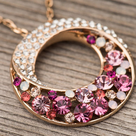 "Twin Moons Rose Gold Plated Multi-Stone Pink & Red Swarovski Elements Crystal Twisted Circle Pendant Necklace,  18"" + 2"" Extender"