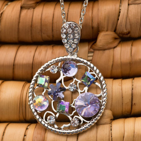 "Leafael Secret Garden Made with Swarovski Crystals Multi-stone Filigree Purple Circle Pedant Necklace, Silver-tone Chain, 19"", Nickel/Lead Free, Luxury Gift Box"