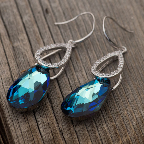 "Leafael ""Royal Delight"" Made with Swarovski Crystals Bermuda Blue Pear Shape Teardrop Dangling Earrings, Silver-tone, Nickel/Lead Free, Luxury Gift Box"
