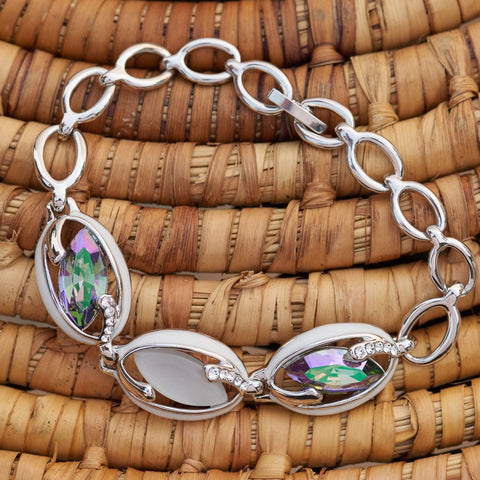 "Leafael ""Evil Eye"" Made with Swarovski Crystals Bead Opal White Purple Mix Silver-tone Oval Stone Charm Bracelet, April Birthstone Jewelry, 7"", Nickel/Lead/Allergy Free, Presented by Miss New York, Luxury Gift Box,"