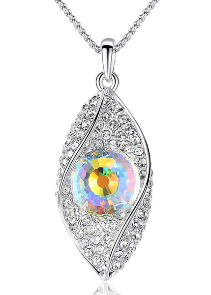 "Leafael [Presented by Miss New York] Evil Eye Made with Swarovski Crystals Bead White Opal Color Leaf Shape Inlay Pendant Necklace, April Birthstone Jewelry, Silver-tone, 18.5"", Nickel/Lead/Allergy Free, Luxury Gift Box"