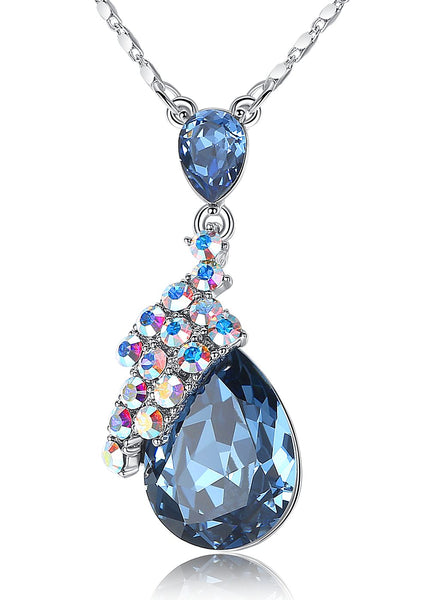 "Leafael Dark Blue Montana Double Teardrop Sparkling Pendant Necklace Made with Swarovski Crystals, December Birthstone Jewelry, Silver-tone, 17""+2"", Nickel/Lead/Allergy Free, Presented by Miss New York, Luxury Gift Box"