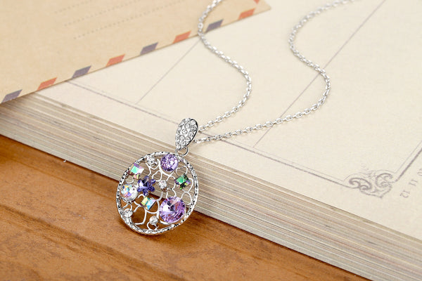 "Leafael Secret Garden Circle Pendant Necklace Made with Swarovski Crystals Multi-stone Filigree Birthstone Jewelry, Silver-tone Chain or 14K Gold Plated, 19"", Nickel/Lead/Allergy Free, Presented by Miss New York,Luxury Gift Box"