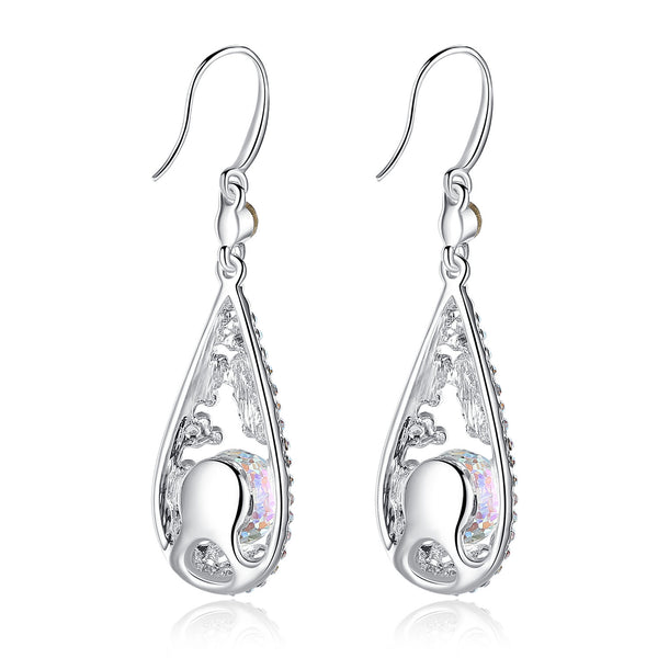 "[Presented by Miss New York] Leafael ""Evil Eye"" Made with Swarovski Crystals Filigree White Opal Color Rondelle Earrings, April Birthstone Jewelry, White Gold Plated Silver-tone, Nickel/Lead/Allergy Free, Luxury Gift Box"