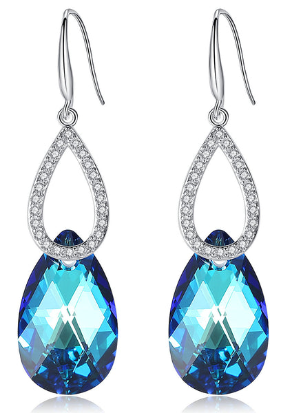 "Leafael ""Royal Delight"" Made with Swarovski Crystals Pear Shape Teardrop Dangling Earrings Birthstone Jewelry, Multiple Colors, Silver-tone, Nickel/Lead Free, Presented by Miss New York, Luxury Gift Box"