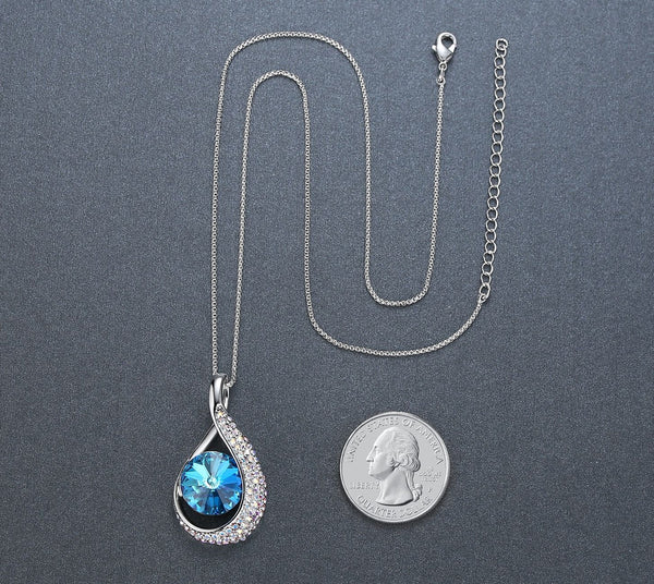 "Leafael ""Brazilian Rainforest"" Made with Swarovski Crystals Teardrop Sapphire Blue Pendant Necklace, September Birthstone Jewelry, Silver-tone, 18.5"", Nickel/Lead/Allergy Free, Presented by Miss New York, Luxury Gift Box"