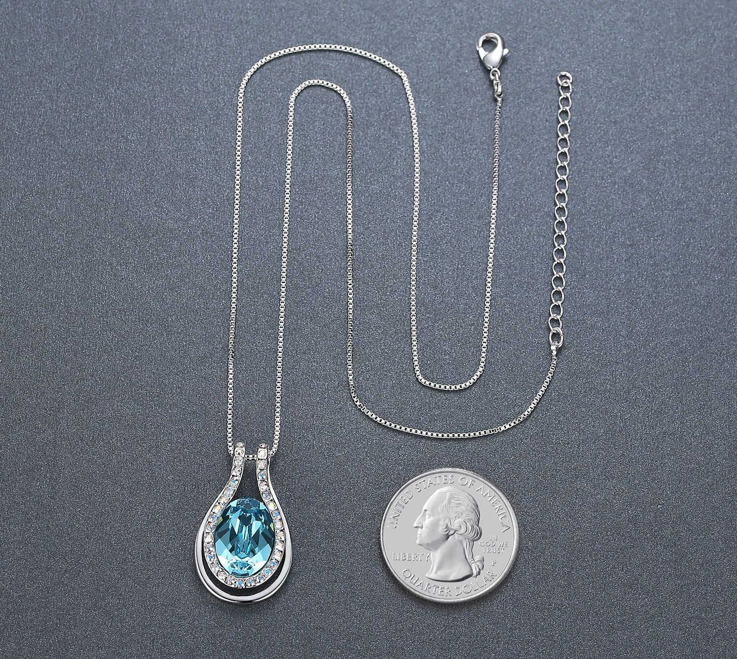 Evil Eye Teardrop Crystal Pendant Necklace