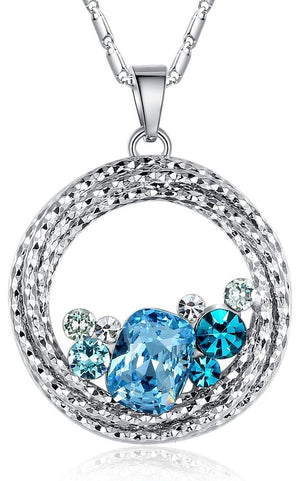 "Open image in slideshow, ""Ocean Wave"" Round Crystal Pendant Necklace"