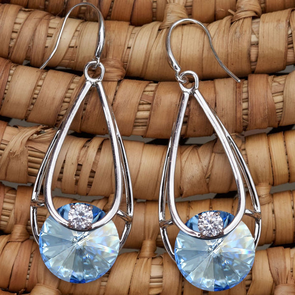 Leafael Light Blue Sapphire Filigree Teardrop Round Stone Dangling Earrings Made with Swarovski Crystals, Silver-tone, Nickel/Lead/Allergy Free, Presented by Miss New York, Luxury Gift Box