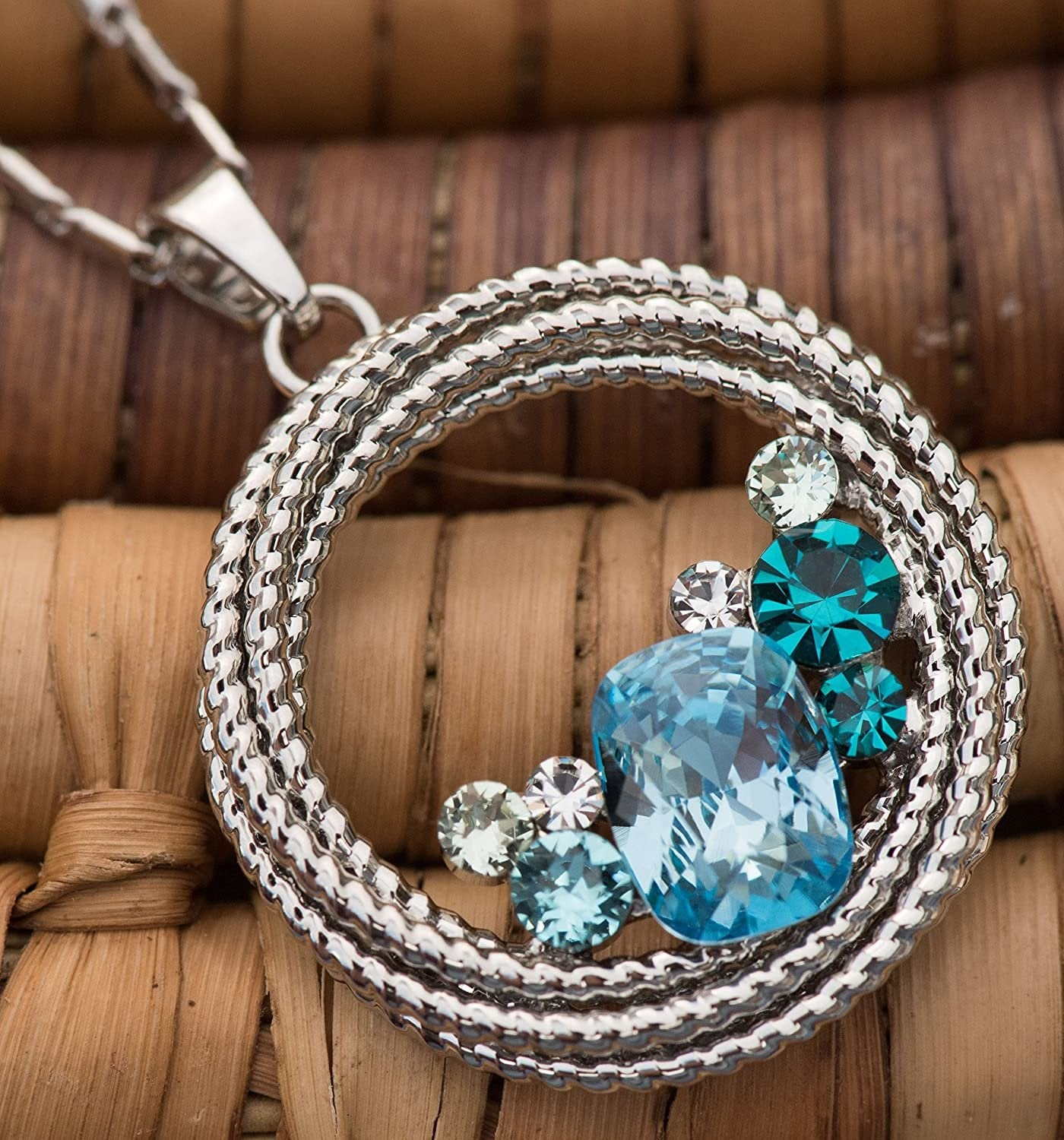 """Ocean Wave"" Round Crystal Pendant Necklace"