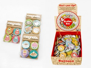 Badge Bomb Magnets and  Zodiac Zoo Buttons