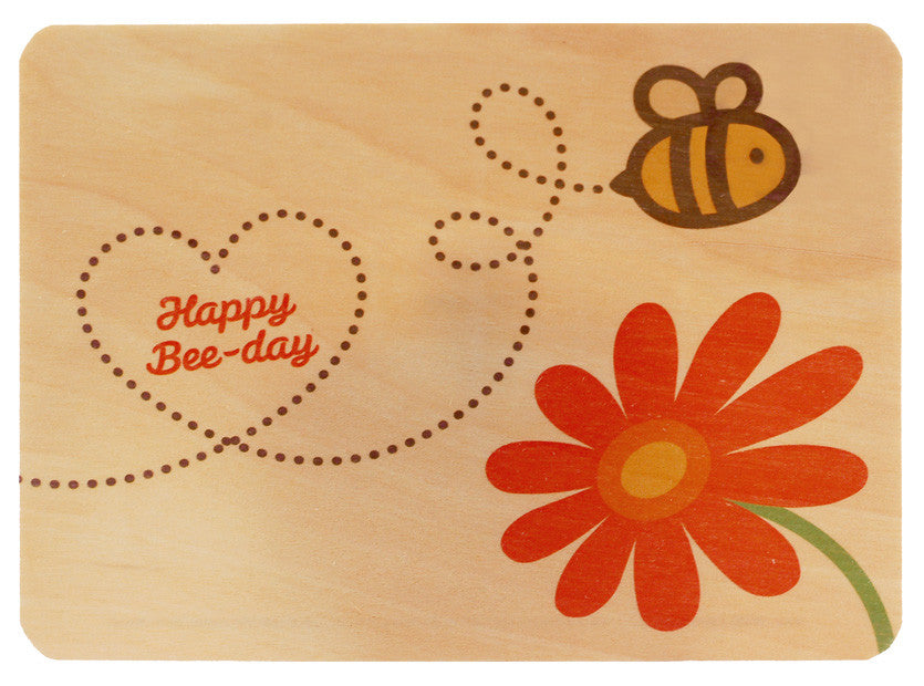 Bee Wood Birthday Card