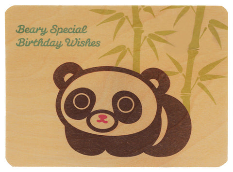 Panda Wood Birthday Card