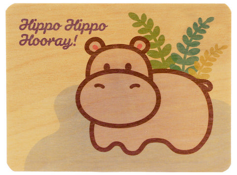 Hippo Wood Card