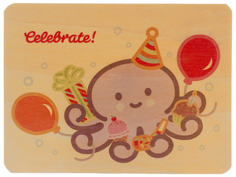 Octopus Wood Birthday Card