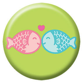 Kissing Fishies Button