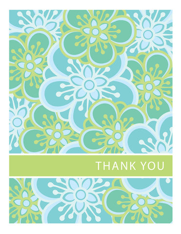 Blue & Green Floral Thank You Card