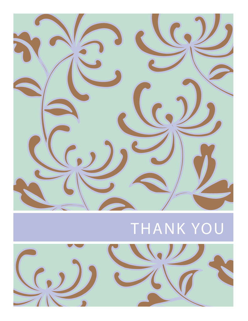 Brown & Blue Floral Thank You Card