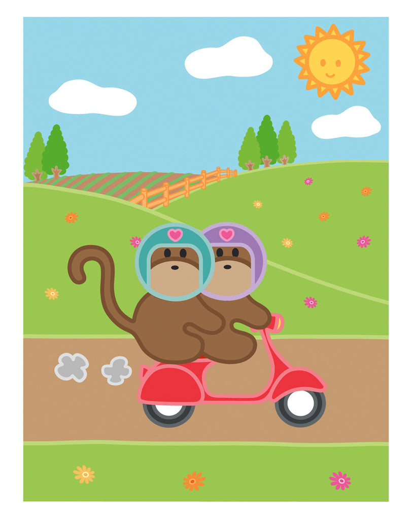 Kiwi and Pear Scooter Card