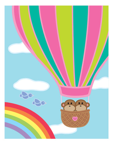 Kiwi and Pear Hot Air Balloon Card