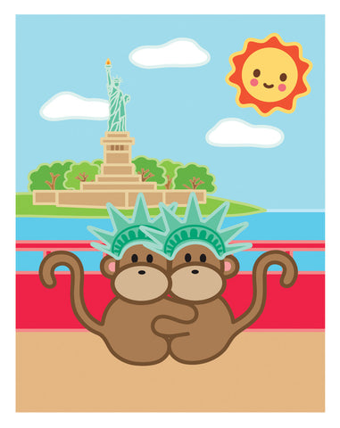 Kiwi and Pear in New York City Card