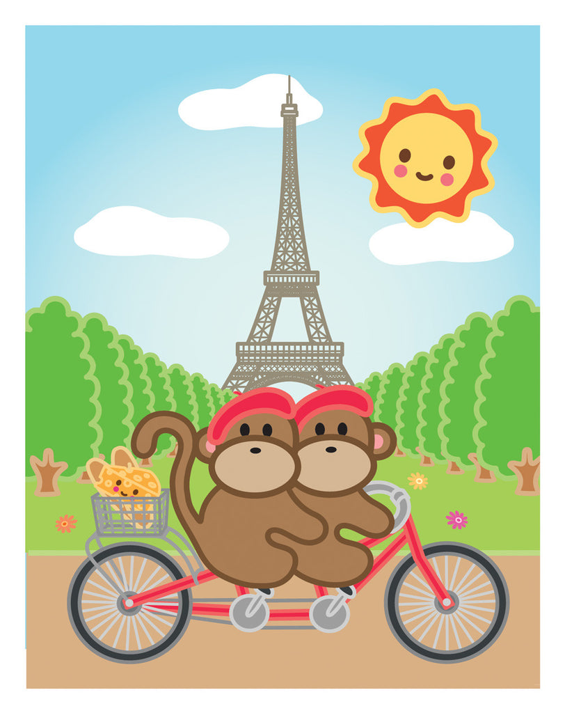 Kiwi and Pear in Paris Card