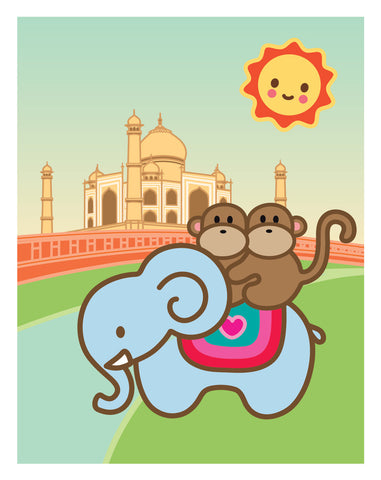 Kiwi and Pear in India Card