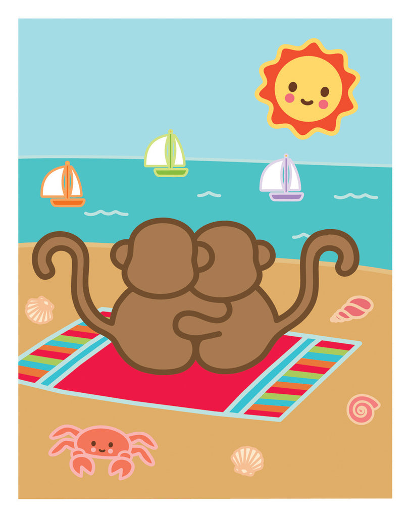 Kiwi and Pear on the Beach Card