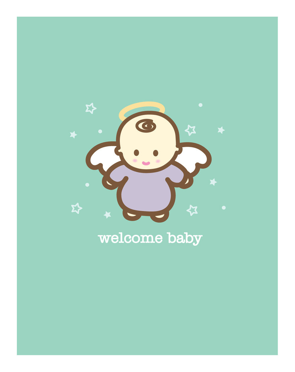 Angel new baby card wanart - Baby deko mint ...