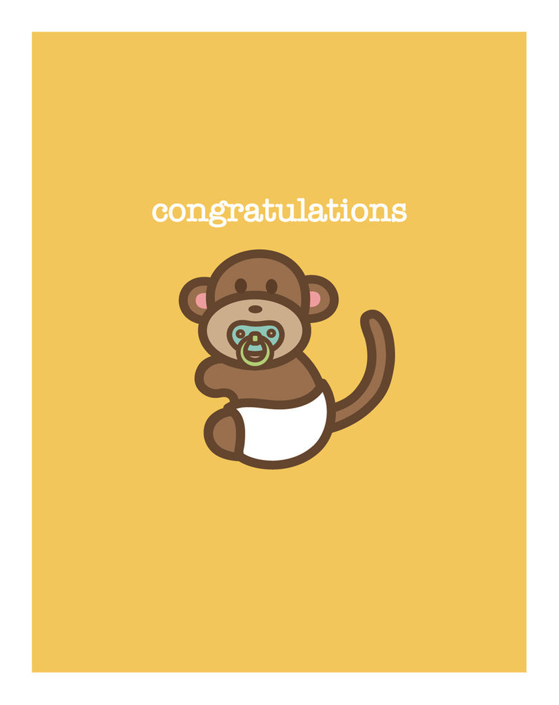Monkey New Baby Card