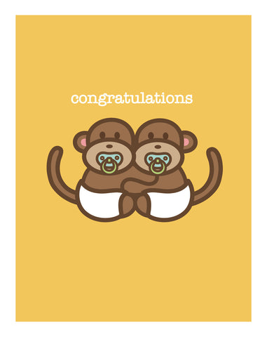 Monkeys New Baby Card