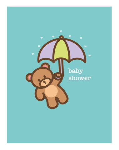 Umbrella Bear New Baby Card