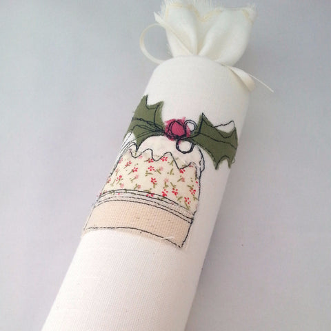 Fabric Reusable Christmas Crackers: Christmas Pudding Embroidery - Individuals - annie morris