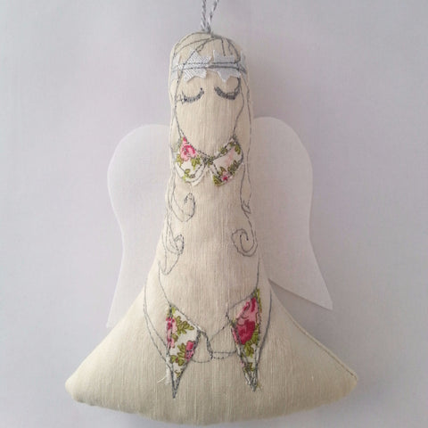 Angels: Lavender filled Embroidered Ornament - annie morris