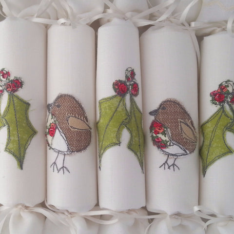 Fabric Christmas Crackers Embroidered - Set of 6 (Holly & Robins) - annie morris