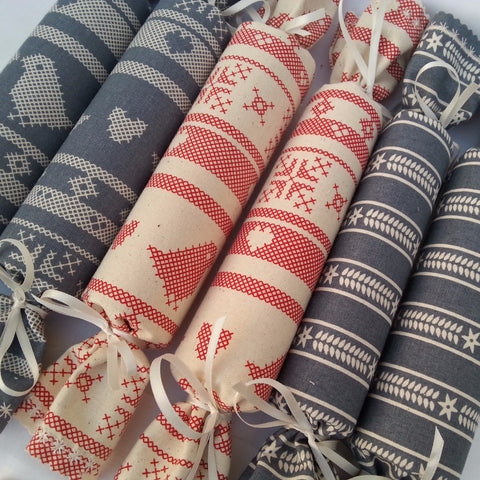 Fabric Christmas Crackers - Set of 6 (Scandi Style) - annie morris