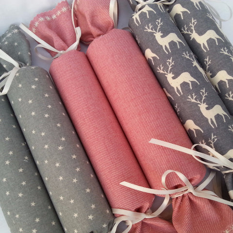 Fabric Christmas Crackers - Set of 6 (Pink/Grey Cottons) - annie morris