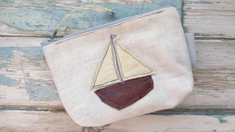 leather and linen fabric sailing boat embroidered coin purse